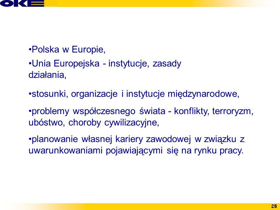 Polska w Europie, Unia Europejska - instytucje, zasady działania, stosunki, organizacje i instytucje międzynarodowe,