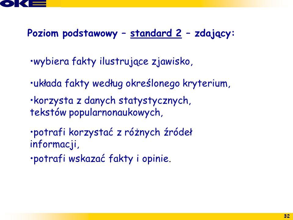 Poziom podstawowy – standard 2 – zdający: