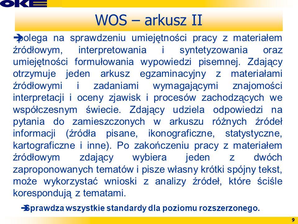 WOS – arkusz II