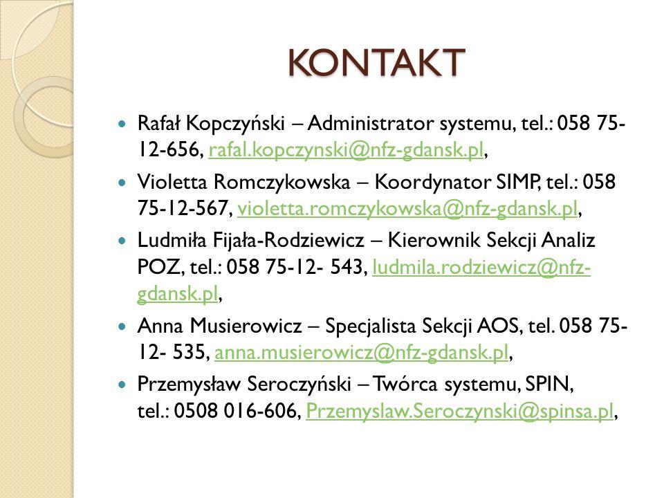 KONTAKT Rafał Kopczyński – Administrator systemu, tel.: 058 75- 12-656, rafal.kopczynski@nfz-gdansk.pl,