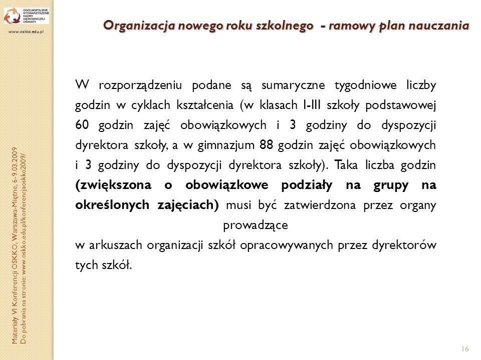 Organizacja nowego roku szkolnego - ramowy plan nauczania