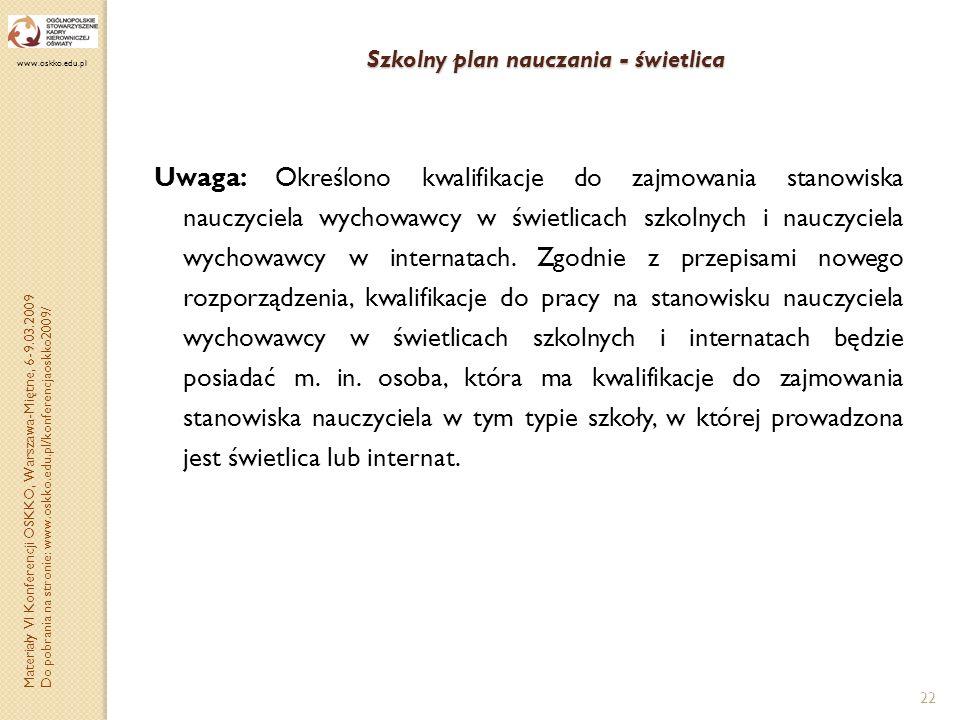 Szkolny plan nauczania - świetlica