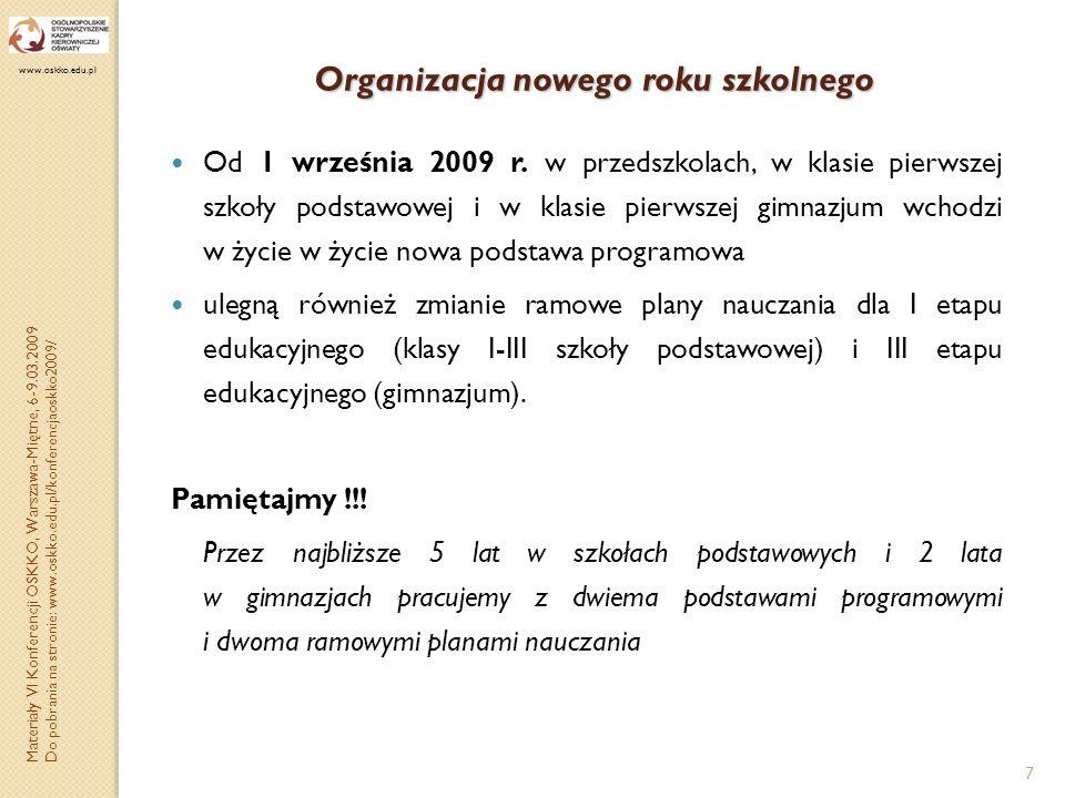 Organizacja nowego roku szkolnego