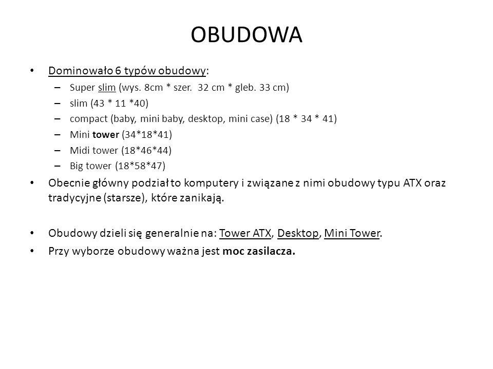 OBUDOWA Dominowało 6 typów obudowy: