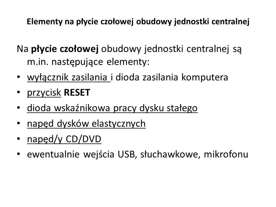 Elementy na płycie czołowej obudowy jednostki centralnej