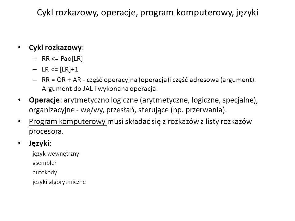 Cykl rozkazowy, operacje, program komputerowy, języki
