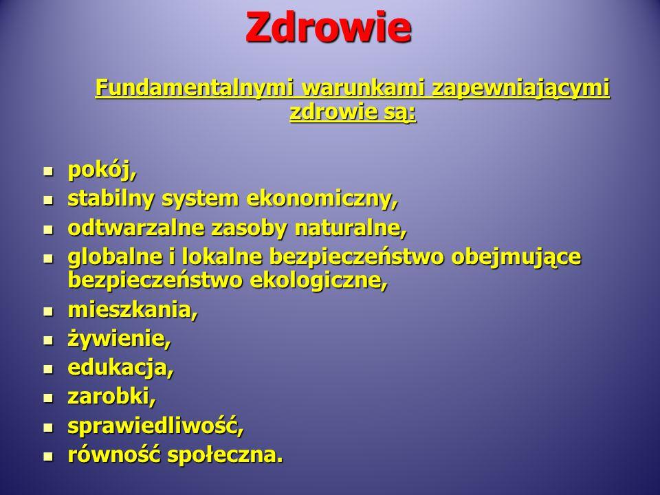 Fundamentalnymi warunkami zapewniającymi zdrowie są: