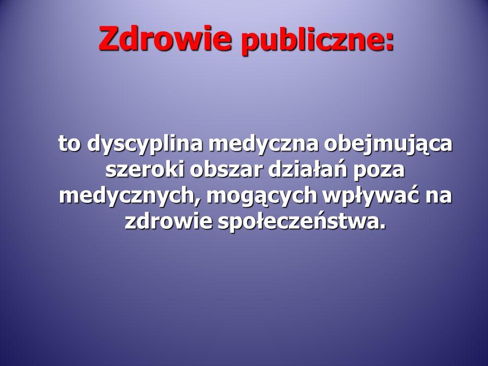Zdrowie publiczne: to dyscyplina medyczna obejmująca szeroki obszar działań poza medycznych, mogących wpływać na zdrowie społeczeństwa.
