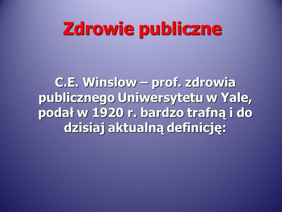 Zdrowie publiczne C.E. Winslow – prof. zdrowia publicznego Uniwersytetu w Yale, podał w 1920 r.