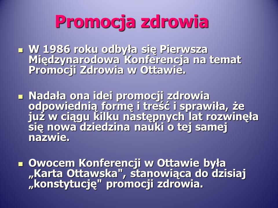 Promocja zdrowia W 1986 roku odbyła się Pierwsza Międzynarodowa Konferencja na temat Promocji Zdrowia w Ottawie.