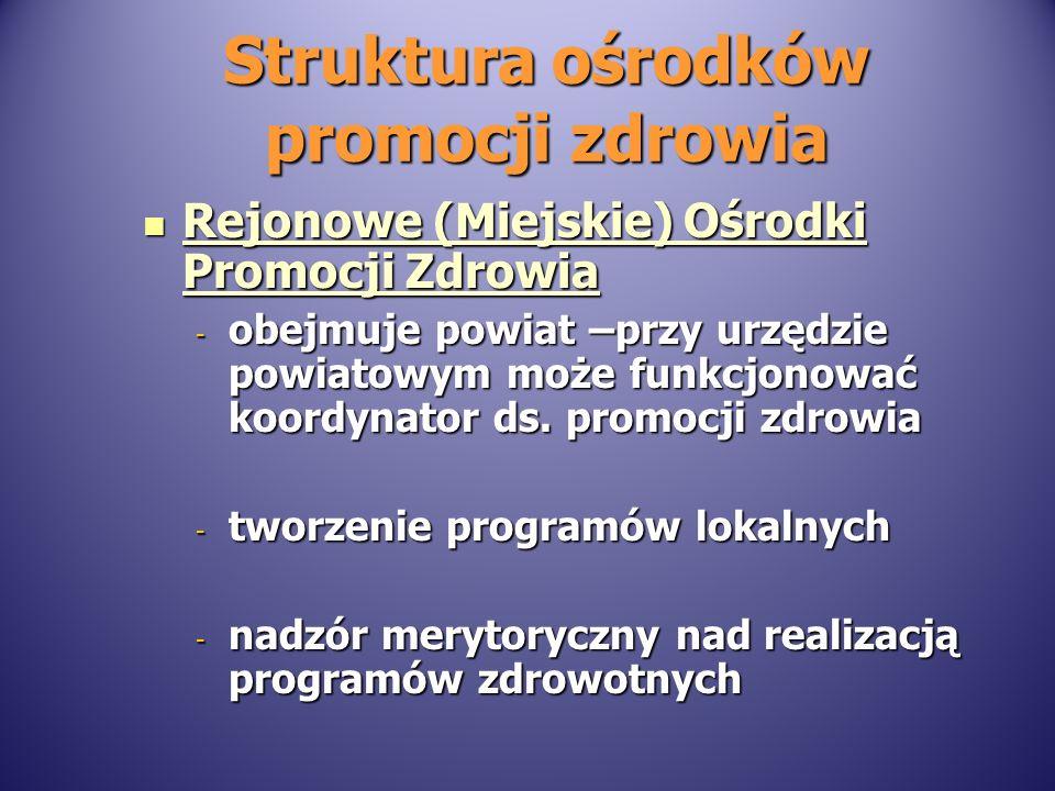 Struktura ośrodków promocji zdrowia