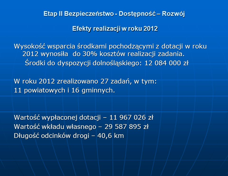 Etap II Bezpieczeństwo - Dostępność – Rozwój Efekty realizacji w roku 2012