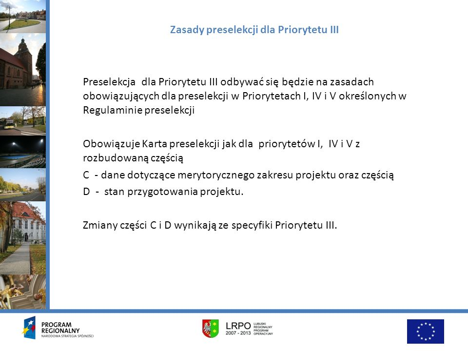 Zasady preselekcji dla Priorytetu III