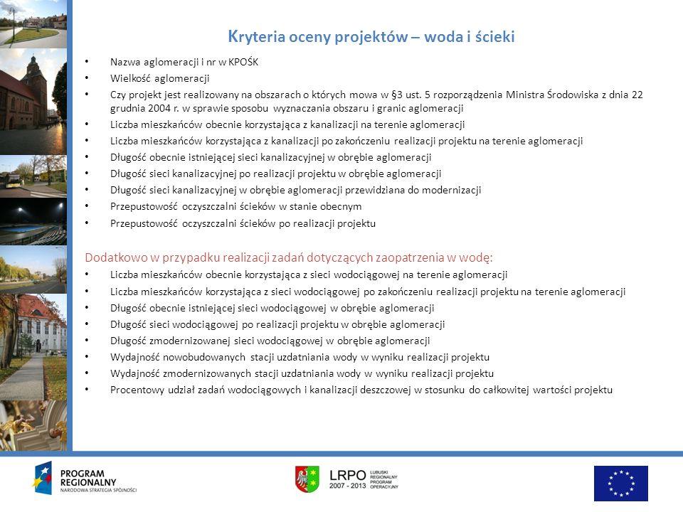 Kryteria oceny projektów – woda i ścieki