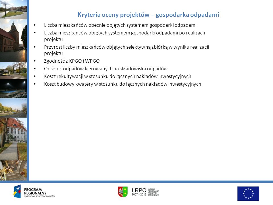 Kryteria oceny projektów – gospodarka odpadami