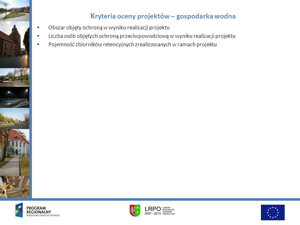 Kryteria oceny projektów – gospodarka wodna