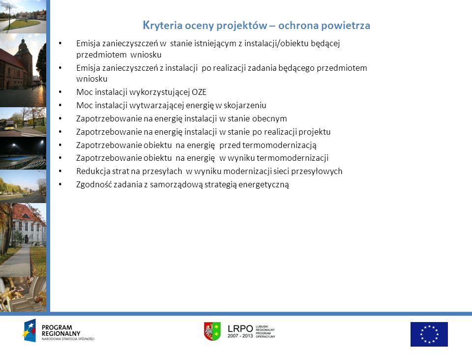 Kryteria oceny projektów – ochrona powietrza