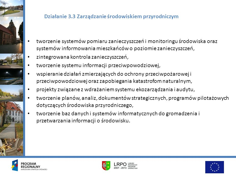 Działanie 3.3 Zarządzanie środowiskiem przyrodniczym