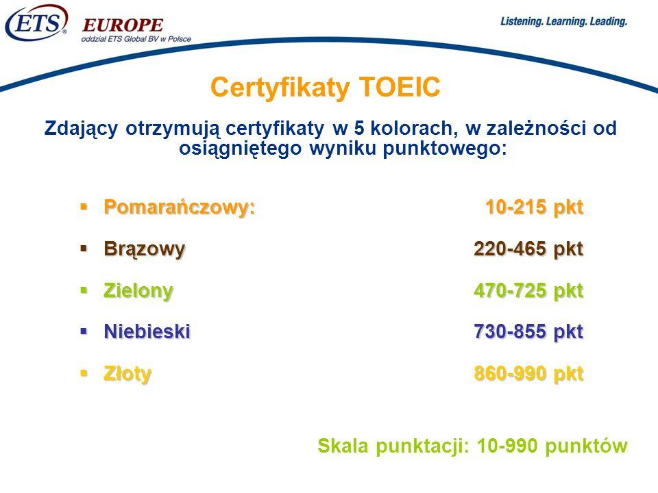 Certyfikaty TOEIC Zdający otrzymują certyfikaty w 5 kolorach, w zależności od osiągniętego wyniku punktowego: