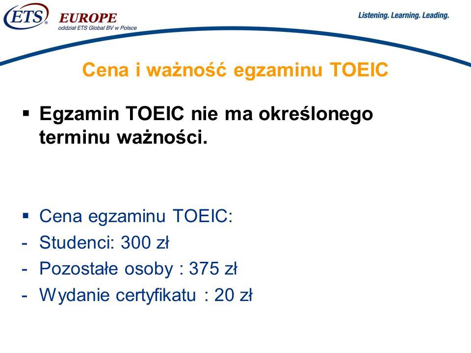 Cena i ważność egzaminu TOEIC