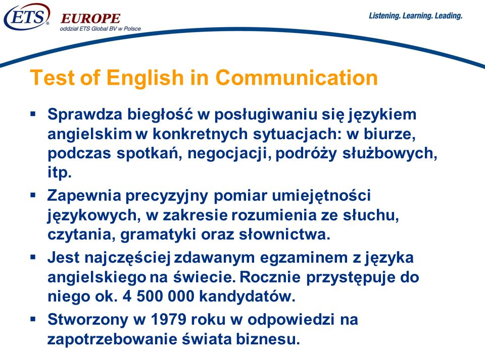 Test of English in Communication