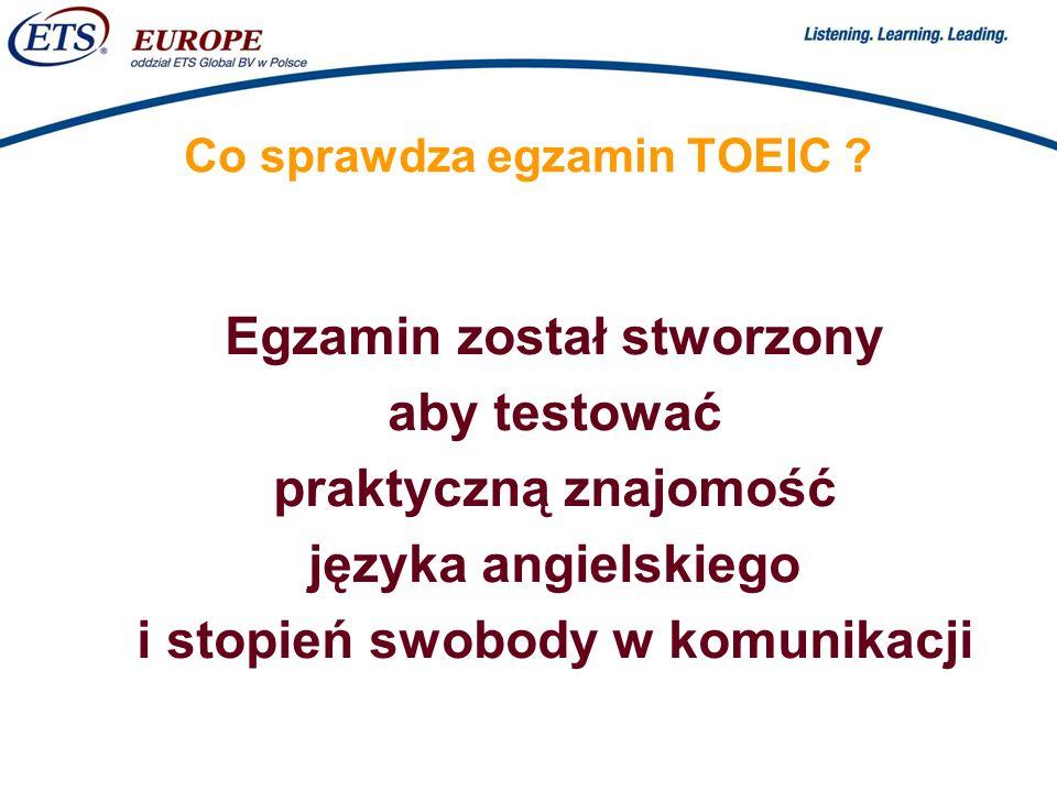 Co sprawdza egzamin TOEIC