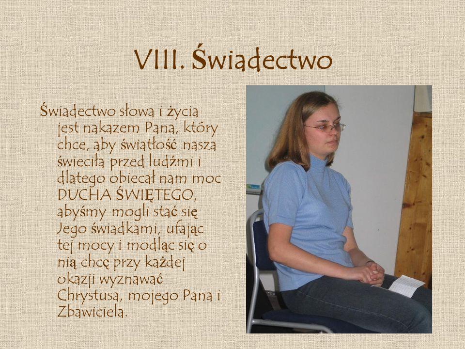 VIII. Świadectwo