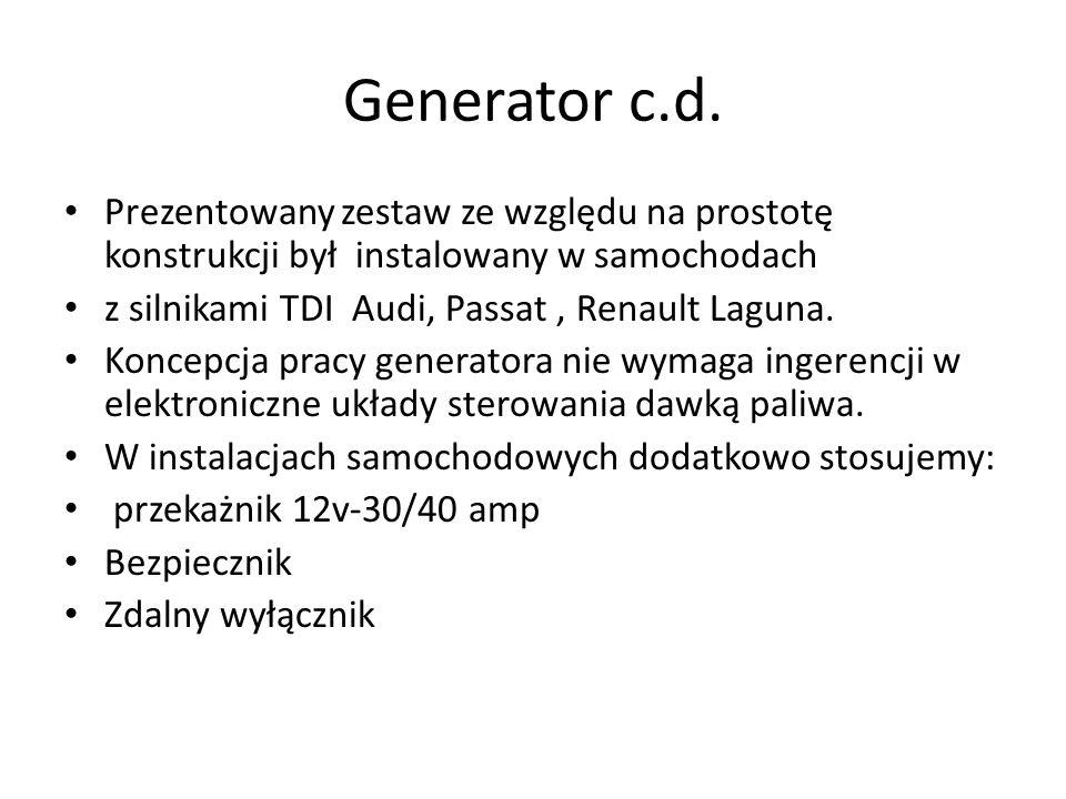 Generator c.d. Prezentowany zestaw ze względu na prostotę konstrukcji był instalowany w samochodach.