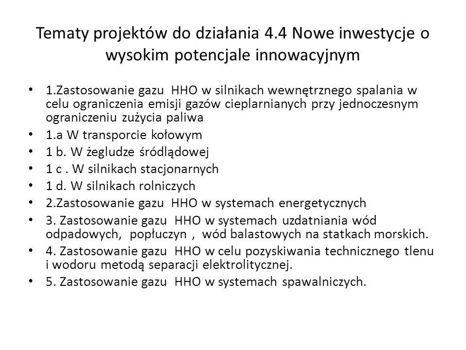 Tematy projektów do działania 4