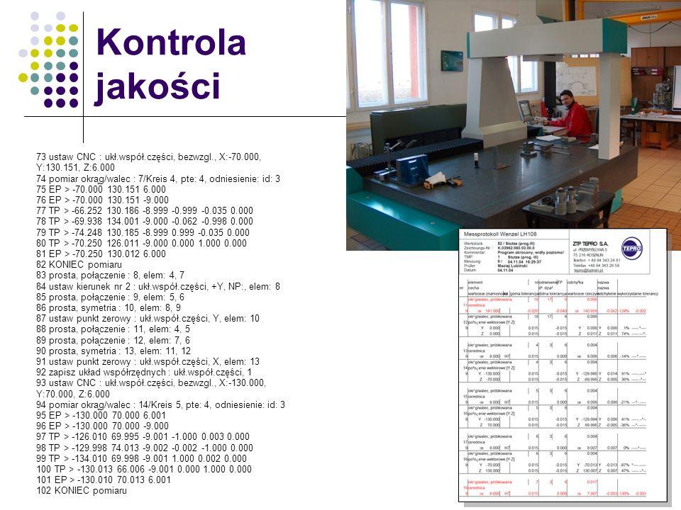 Kontrola jakości 73 ustaw CNC : ukł.współ.części, bezwzgl., X:-70.000, Y:130.151, Z:6.000.