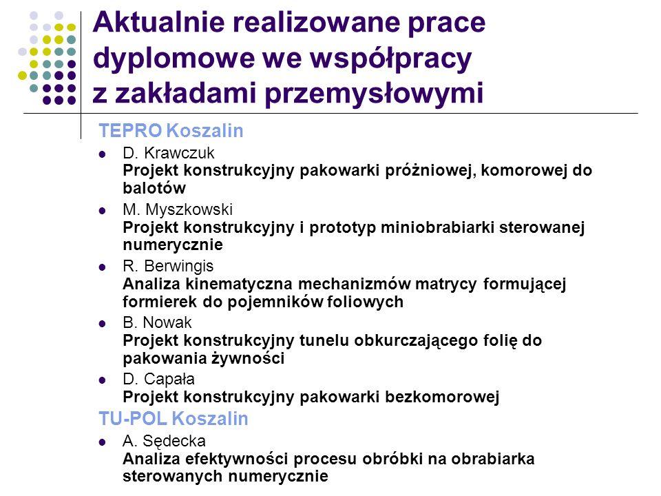 Aktualnie realizowane prace dyplomowe we współpracy z zakładami przemysłowymi