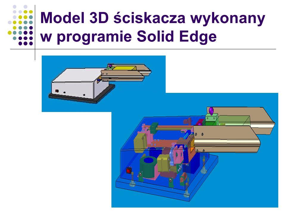 Model 3D ściskacza wykonany w programie Solid Edge