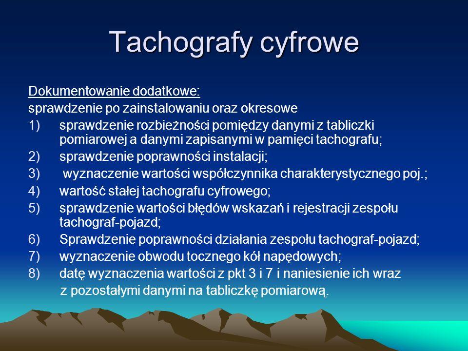 Tachografy cyfrowe Dokumentowanie dodatkowe: