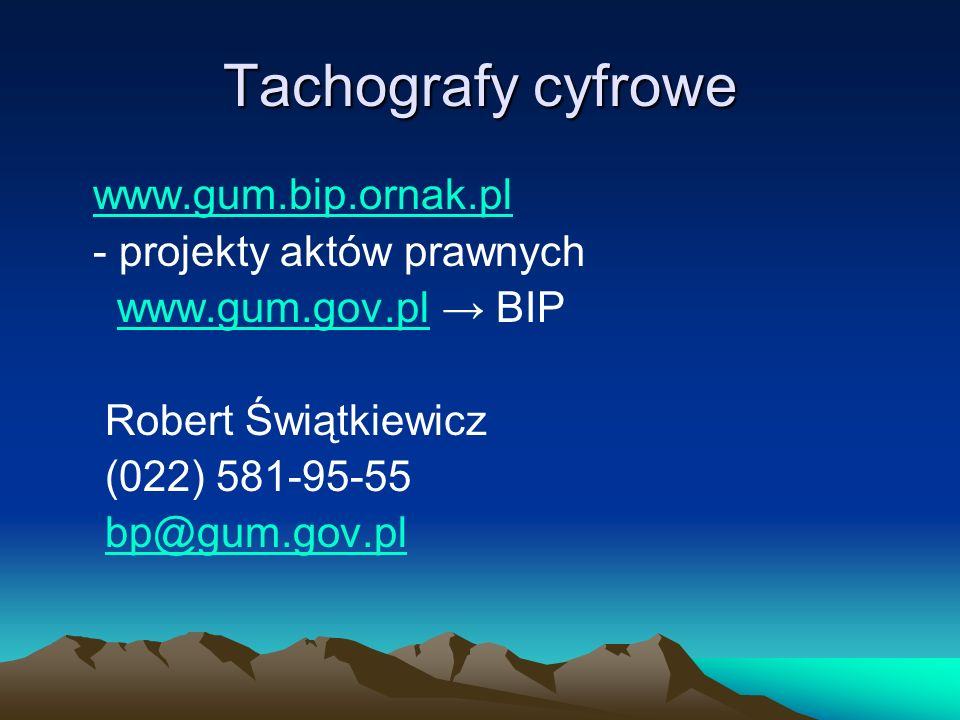 Tachografy cyfrowe www.gum.bip.ornak.pl - projekty aktów prawnych