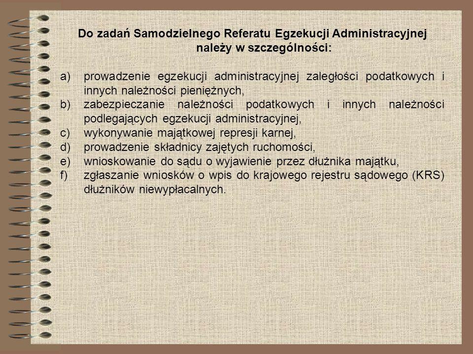 Do zadań Samodzielnego Referatu Egzekucji Administracyjnej należy w szczególności: