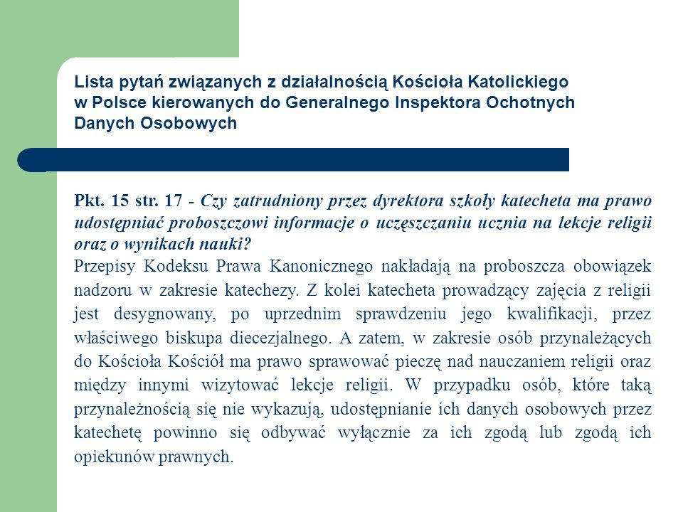 Lista pytań związanych z działalnością Kościoła Katolickiego w Polsce kierowanych do Generalnego Inspektora Ochotnych Danych Osobowych