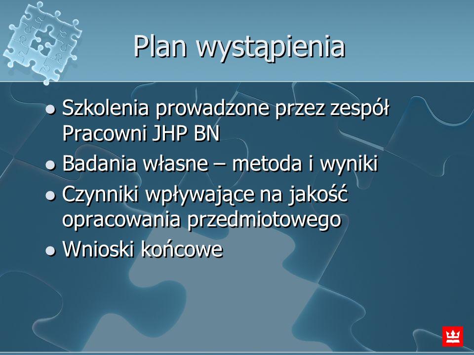 Plan wystąpienia Szkolenia prowadzone przez zespół Pracowni JHP BN