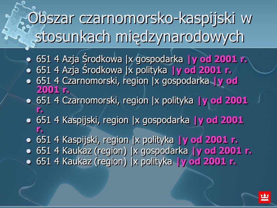 Obszar czarnomorsko-kaspijski w stosunkach międzynarodowych