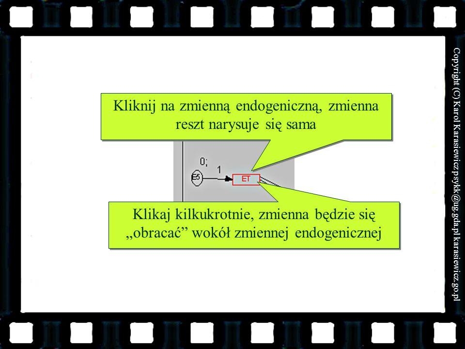 Kliknij na zmienną endogeniczną, zmienna reszt narysuje się sama
