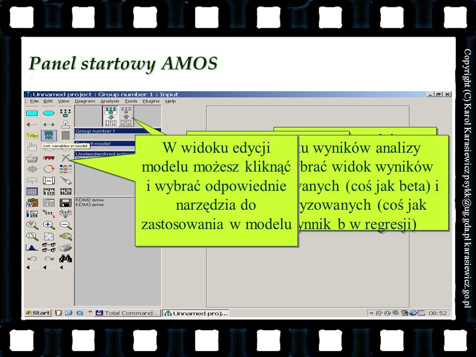 Panel startowy AMOS Miejsce, gdzie wpisujesz model