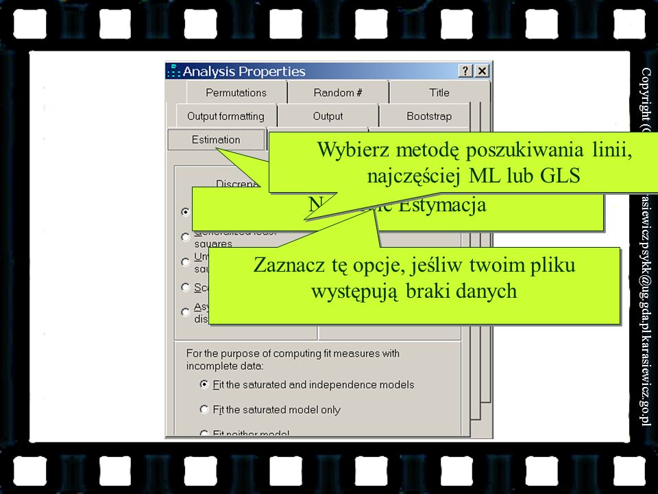 Wybierz metodę poszukiwania linii, najczęściej ML lub GLS