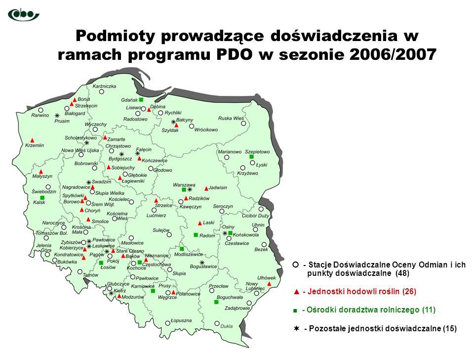 Podmioty prowadzące doświadczenia w ramach programu PDO w sezonie 2006/2007