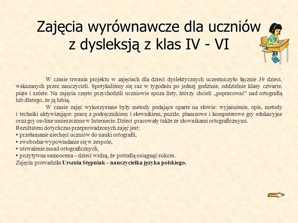 Zajęcia wyrównawcze dla uczniów z dysleksją z klas IV - VI