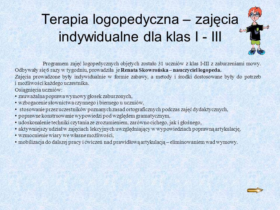 Terapia logopedyczna – zajęcia indywidualne dla klas I - III