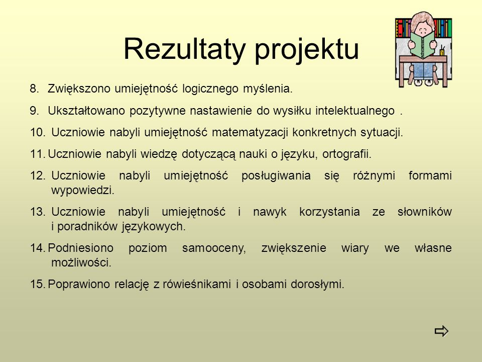 Rezultaty projektu Zwiększono umiejętność logicznego myślenia.