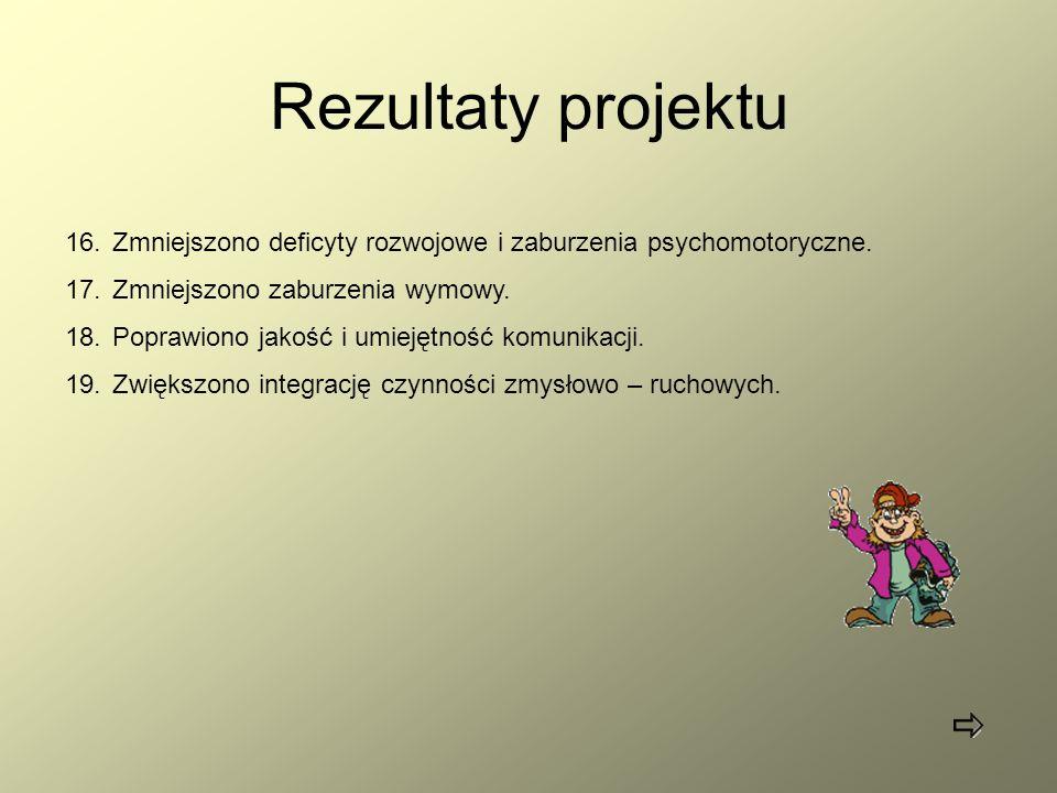 Rezultaty projektu Zmniejszono deficyty rozwojowe i zaburzenia psychomotoryczne. Zmniejszono zaburzenia wymowy.