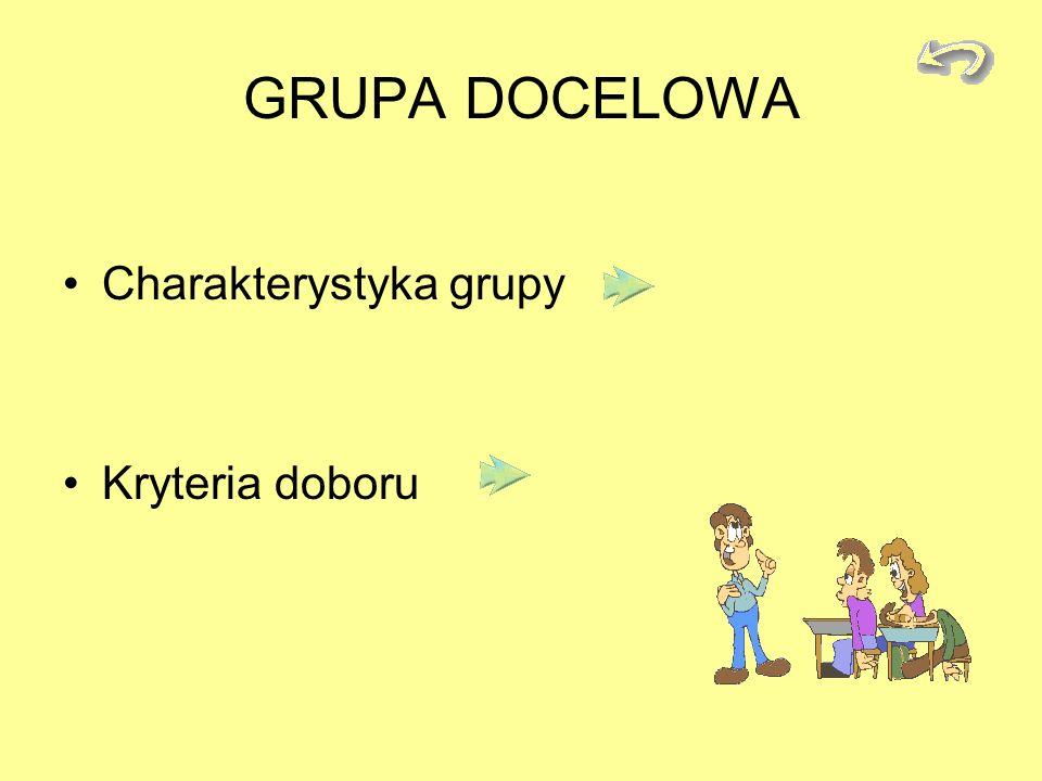 GRUPA DOCELOWA Charakterystyka grupy Kryteria doboru