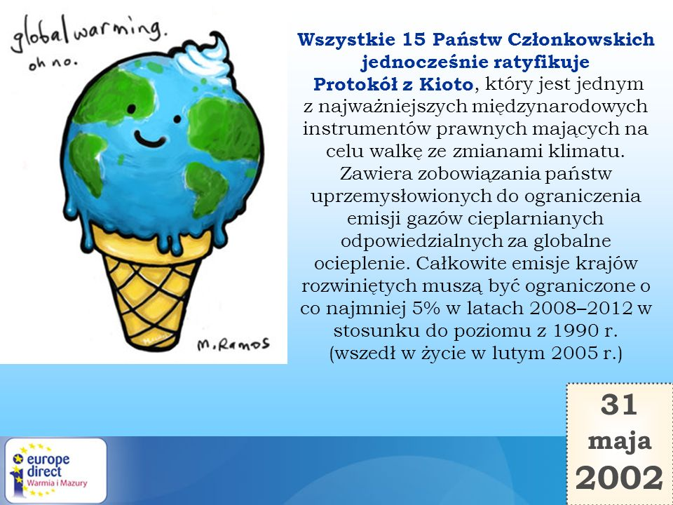 Wszystkie 15 Państw Członkowskich jednocześnie ratyfikuje Protokół z Kioto, który jest jednym z najważniejszych międzynarodowych instrumentów prawnych mających na celu walkę ze zmianami klimatu. Zawiera zobowiązania państw uprzemysłowionych do ograniczenia emisji gazów cieplarnianych odpowiedzialnych za globalne ocieplenie. Całkowite emisje krajów rozwiniętych muszą być ograniczone o co najmniej 5% w latach 2008–2012 w stosunku do poziomu z 1990 r. (wszedł w życie w lutym 2005 r.)