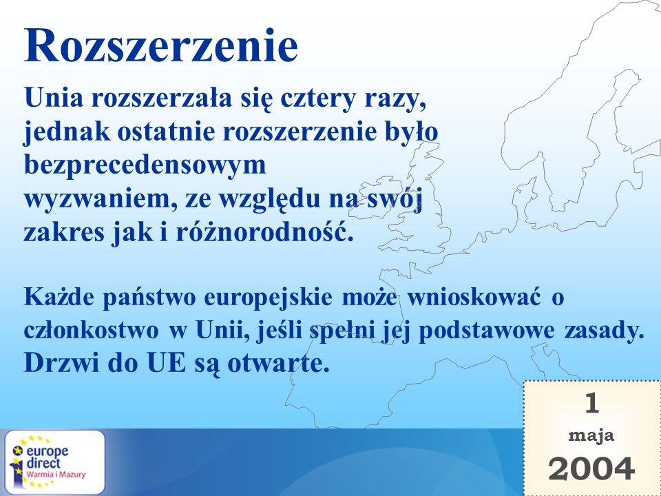 Rozszerzenie 2004 Unia rozszerzała się cztery razy,