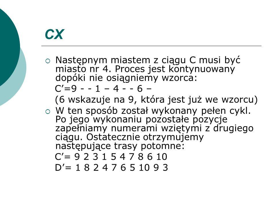 CX Następnym miastem z ciągu C musi być miasto nr 4. Proces jest kontynuowany dopóki nie osiągniemy wzorca: